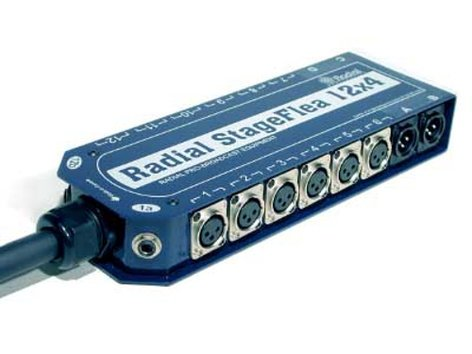"""Radial Engineering StageFlea 12 x 4 Stage Snake with (12) XLRF, (4) XLRM, and (2) 1/4"""" TRS Connectors, 75 ft R487-1214-75"""