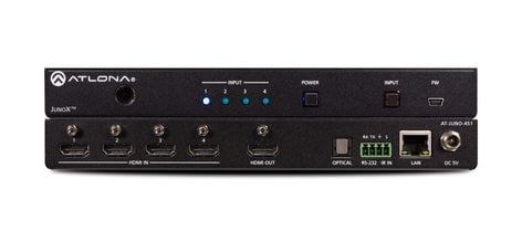 Atlona Technologies JunoX 451 4K HDR Four-Input HDMI Switcher with Auto-Switching  AT-JUNO-451