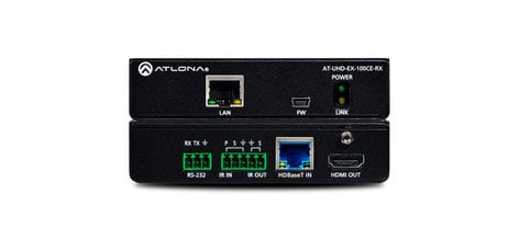 Atlona Technologies AT-UHD-EX-100CE-RX  4K/UHD HDMI Over 100M HDBaseT Receiver with Ethernet, Contro  AT-UHD-EX-100CE-RX