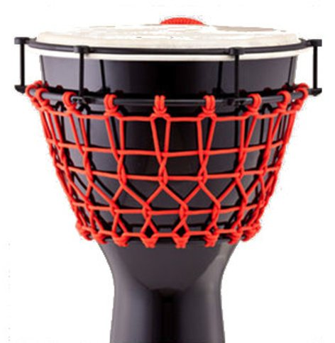 "Pearl Drums PJW-140R533 14""Thai Oak Djembe in Gloss Black with Red Ropes PJW-140R533"