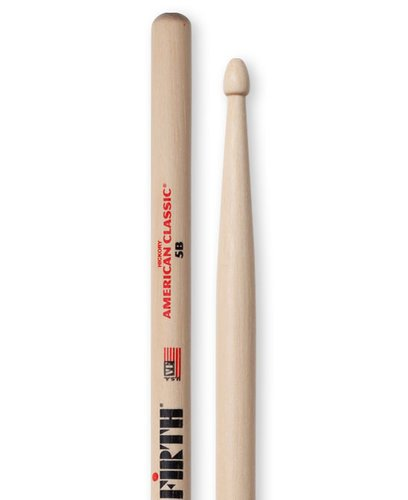 Vic Firth 5B 1 Pair of American Classic 5B Drumsticks with Wood Tear Drop Tip 5B