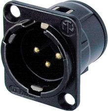 Neutrik NC3MD-V-B  3-Pin Male XLR Panel Mount Receptacle, Black, Gold Contacts NC3MD-V-B