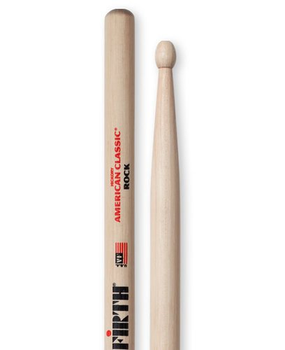 Vic Firth ROCK 1 Pair of American Classic Rock Drumsticks with Wood Oval Tip ROCK