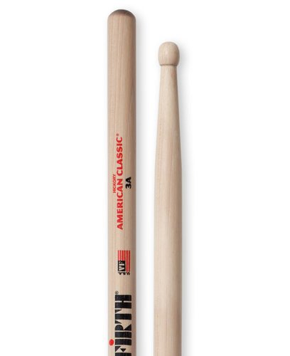 Vic Firth 3A 1 Pair of American Classic 3A Drumsticks with Wood Barrel Tip 3A-VICFIRTH