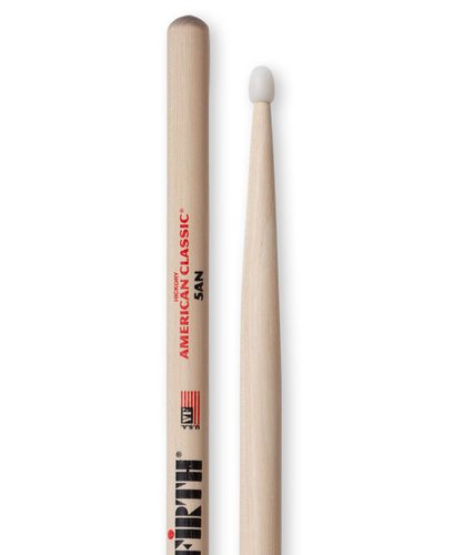 Vic Firth 5AN 1 Pair of American Classic 5A Drumsticks with Nylon Tear Drop Nylon Tip 5AN