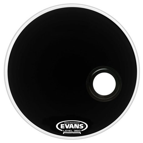 "Evans BD22RB 22"" EQ3 Resonant Bass Drum Head in Black BD22RB"
