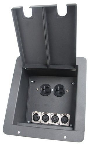 Elite Core Audio FB4+AC  Recessed Floor Box With 4 XLRF + Duplex AC  FB4+AC