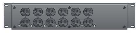 Lex Products Corp PRM2IN-7CC  2RU Rack Mount Power Distribution, L21-30 In/Thru to 6 Duplexes PRM2IN-7CC