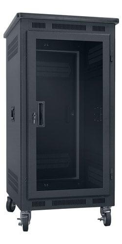 """Lowell LPR-2127PGT  21RU, 27"""" Deep Portable Rack with Plexiglass Door and Premium Top LPR-2127PGT"""