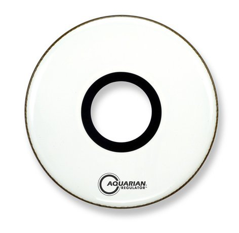 "Aquarian Drumheads RPT22 22"" Kick Drum Head with 7"" Hole in White RPT22-WHITE"