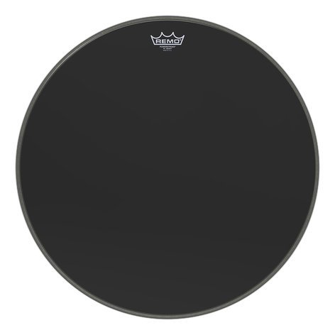 "Remo P3-1020-ES 20"" Ebony Powerstroke 3 Bass Drum Head with 5"" Black DynamO Porthole Protector P3-1020-ES"