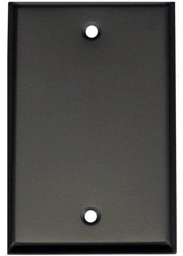 "Whirlwind WP1B/0H Blank Single Gang Wall Plate in 0.04"" Black Aluminum WP1B/0H"