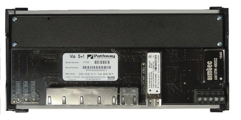 Pathway Connectivity 6706 Pathport VIA 5 DIN-Mountable Gigabit Ethernet Switch with LC Fiber Connector P6706