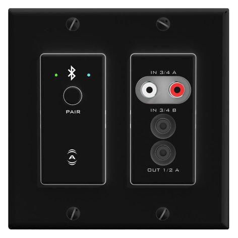 Attero Tech UND6IO-BT (Black, Dante Control) 4x 2-Channel 2-Gang US Wall Plate With Bluetooth UND6IO-BT-B-C