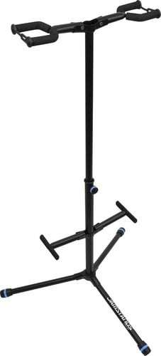 Ultimate Support JS-HG102C  JamStands Series Double Hanging-Style Guitar Stand with Blue Accent Bands JS-HG102C