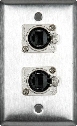 TecNec WPL-2182  2-Gang Stainless Steel Wall Plate with 4 Ethercon Connectors WPL-2182