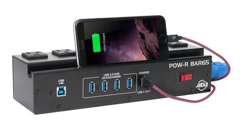 ADJ POW-R BAR65 6 Surge Protected AC Power Sockets & 4-Port USB 3.0 Hub Utility Block POWR-BAR65