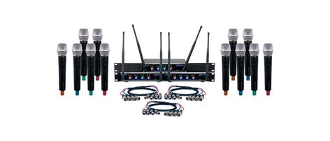 VocoPro Digital-Acapella-12 Twelve-Channel UHF Wireless Handheld Microphone System Digital-Acapella-12