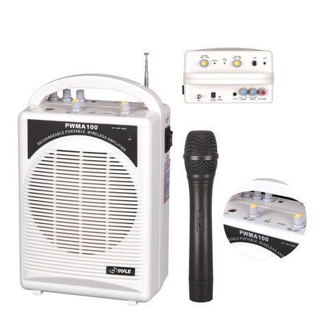Pyle Pro PWMA100 Rechargeable 80W Portable PA System with Wireless Handheld Microphone PWMA100