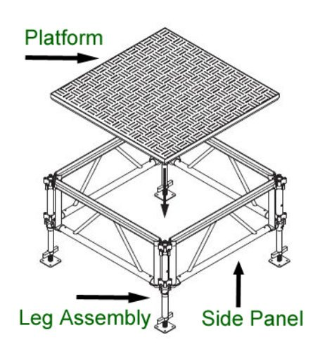 IntelliStage AT4PWD [RESTOCK ITEM] 4'x4' All Terrain Dual Pack Square Platform in Weatherproof Aluminum AT4PWD-RST-01