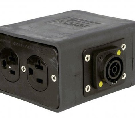 Lex Products Corp DB20T1-SBPC  20 Amp Quad Box with powerCON TRUE1 Input to Edisons, Feed Thru DB20T1-SBPC