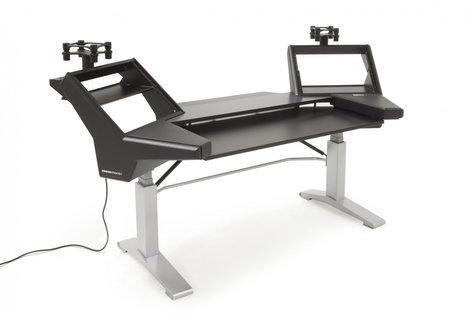Argosy Consoles HALO.KE Plus Height Adjustable Sit-Stand Desk with (2) Rack Shelves and (2) Speaker Platforms HALO-K-E-L-B-S