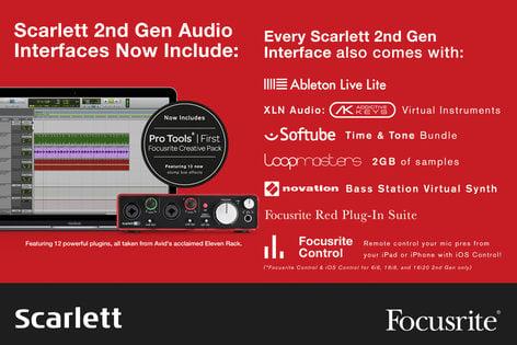Focusrite Scarlett 2i2 Studio (2nd Gen) 2x2 USB 2.0 Audio Interface with Mic/Phones/Cable Pack SCARLETT-STUDIO-V2