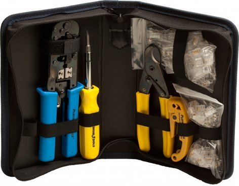 Platinum Tools 90109 All-In-One Modular Plug Kit Tool Kit with Crimp Tool, Connectors, and Zippered Case 90109