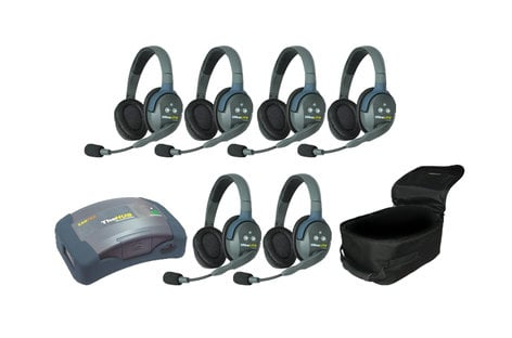 Eartec Co HUB6D HUB/UltraLITE Full Duplex Intercom System with 6 Double Headsets, Batteries & Case HUB6D