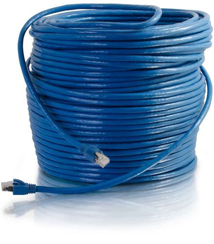 Cables To Go Cat6 Snagless Solid Shielded 150 ft Ethernet Network Patch Cable, Blue 43170