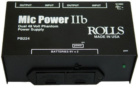 Rolls PB224 Dual Phantom Power Supply, with Battery PB224