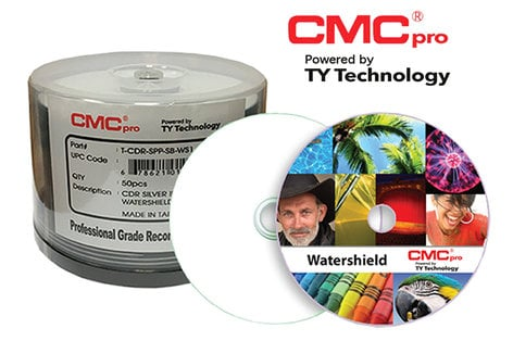 CMC Media TCDR-WPP-SB-WS1 50-Disc Cakebox of 48X WaterShield White Inkjet Printable CD-R T-CDR-WPP-SB-WS1