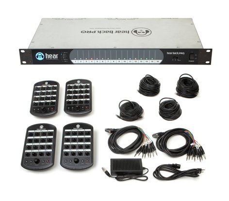 Hear Technologies Hear Back PRO Four Pack, Dante™ Input Network-Based 16-Channel Personal Monitor Mixer System Package PROHB4DA