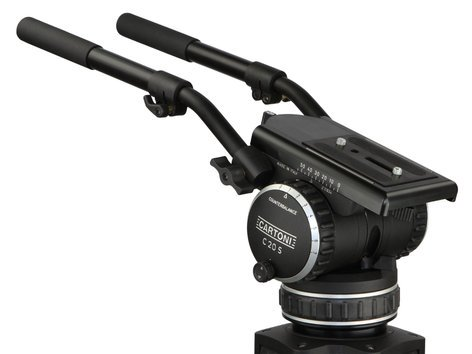 Cartoni P70+ C20 System P70+ Pedestal with C20S Head, (2) Pan Bars, 100mm Adapter and Pump P7C01