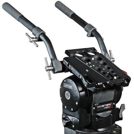 Cartoni P70+ Master 40 System P70+ Pedestal with Master 40 Head, Dovetail Plate, (2) Pan Bars, Flat Base Adapter and Pump P7MA4
