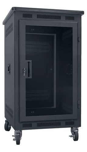 """Lowell LPR-1422PGT 14RU, 22"""" Deep Portable Rack with Plexiglass Door and Premium Top LPR-1422PGT"""