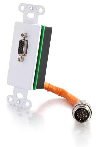 Cables To Go RapidRun VGA Single Gang Wall Plate White Single Gang Wall Plate with (1) VGA Female and (1) RapidRun Male Connector 60085