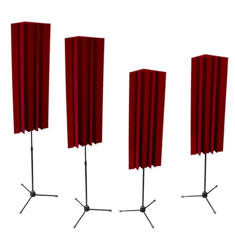 Auralex S-MLENBUR 4 Pack of 4 ft LENRD Stand-Mount Bass Traps in Burgundy S-MLENBUR