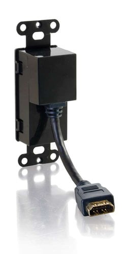 Cables To Go 41045 HDMI Pass Through Decorative Wall Plate Black Single Gang Wall Plate with HDMI Female Connectors 41045