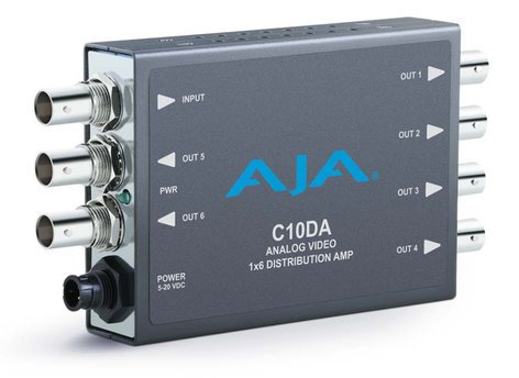 AJA Video Systems Inc C10DA Analog Video 1x6 Distribution Amplifier with NTSC & PAL Support C10DA
