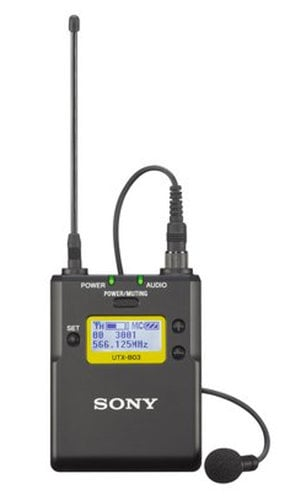 Sony UTX-B03/42 UWP-D Series Bodypack Transmitter with Omni Lavalier Mic in Channel 42 UTX-B03/42
