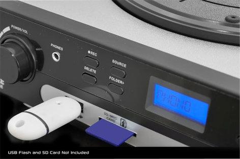 Pyle Pro PLTTB9U USB Belt Drive Turntable with Direct-To-Digital USB/SD Card Encoder and AM/FM Radio PLTTB9U