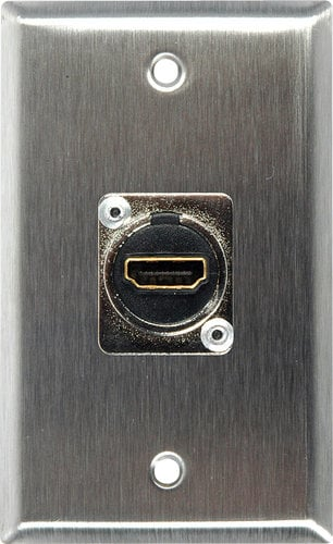 TecNec WPLG-1199 Single Gang Gray Lexan Wall Plate With (1) HDMI Feed-Thru  Connector