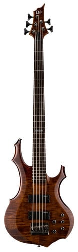 ESP Guitars LTD F-155DX 5-String Electric Bass Guitar, Walnut Brown LF155DXWBR