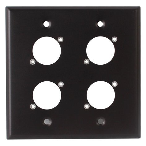 Switchcraft WP2B4P  2 Gang Wall Plate with 4 E/EH Connector Holes in Black Finish WP2B4P