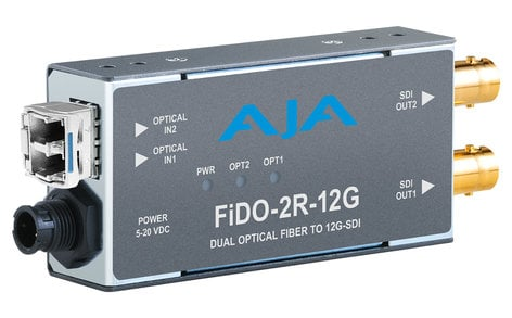 AJA FiDO-2R-12G  2-Channel Single-Mode LC Fiber to 12G-SDI Receiver  FiDO-2R-12G