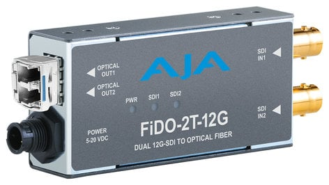 AJA Video Systems Inc FiDO-2T-12G  2-Channel 12G-SDI to Single-Mode LC Fiber Transmitter  FiDO-2T-12G