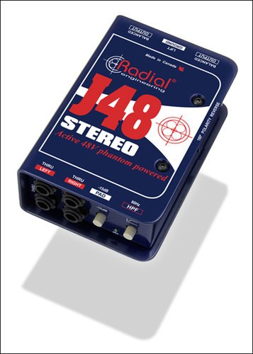Radial Engineering J48-STEREO J48 Stereo 2-Channel Active Direct Box with Phantom Power J48-STEREO