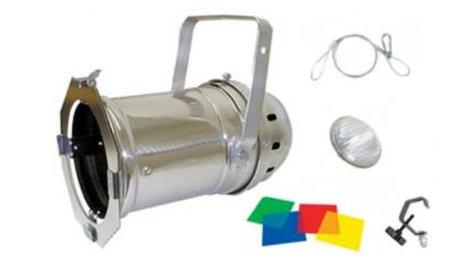 Elation PAR56-KIT P56 Kit Par 56 Chrome Fixture with Lamp, C-Clamp, Safety Cable & Gel Pack PAR56-KIT