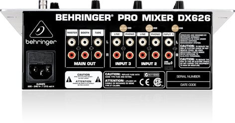 Behringer DX626 3-Channel DJ Mixer with BPM Counter DX626